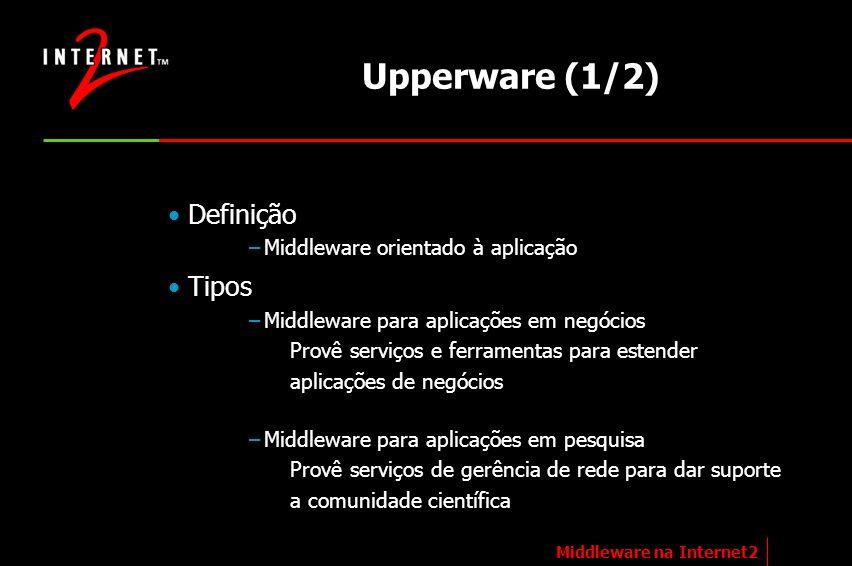 Upperware (1/2) Definição –Middleware orientado à aplicação Tipos –Middleware para aplicações em negócios Provê serviços e ferramentas para estender a