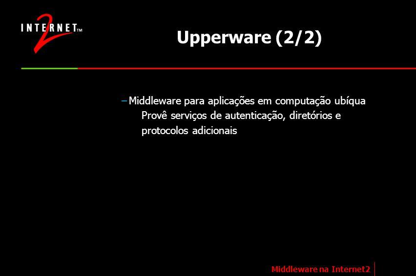 Upperware (2/2) –Middleware para aplicações em computação ubíqua Provê serviços de autenticação, diretórios e protocolos adicionais Middleware na Inte