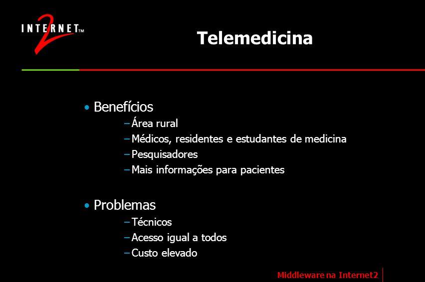 Telemedicina Benefícios –Área rural –Médicos, residentes e estudantes de medicina –Pesquisadores –Mais informações para pacientes Problemas –Técnicos