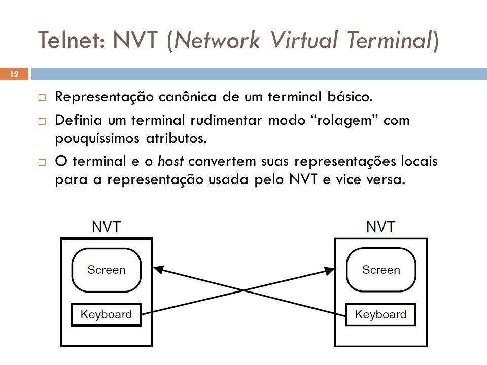 Telnet: NVT (Network Virtual Terminal) O Futuro da Internet (2012.1) 12  Representação canônica de um terminal básico.
