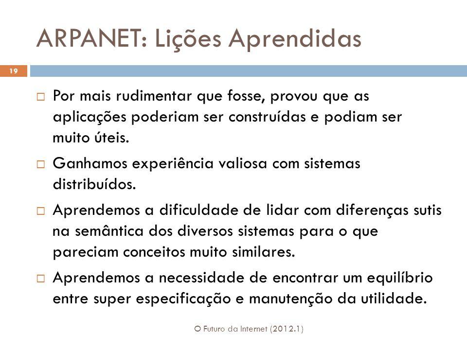 ARPANET: Lições Aprendidas O Futuro da Internet (2012.1) 19  Por mais rudimentar que fosse, provou que as aplicações poderiam ser construídas e podiam ser muito úteis.