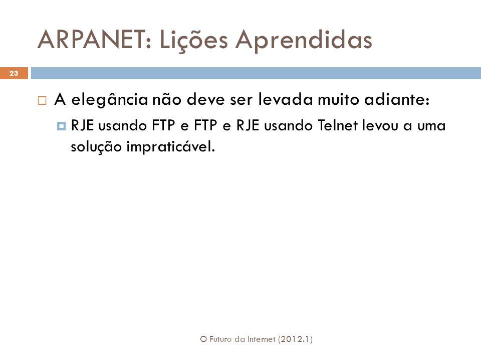ARPANET: Lições Aprendidas O Futuro da Internet (2012.1) 23  A elegância não deve ser levada muito adiante:  RJE usando FTP e FTP e RJE usando Telnet levou a uma solução impraticável.
