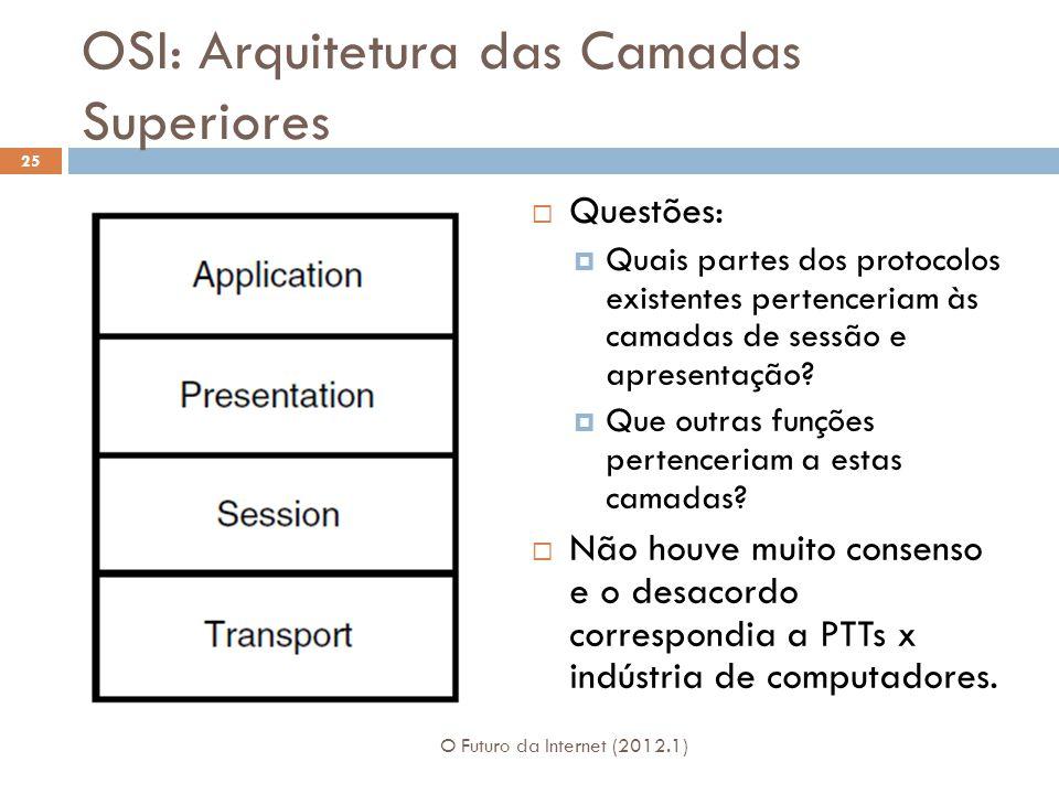 OSI: Arquitetura das Camadas Superiores  Questões:  Quais partes dos protocolos existentes pertenceriam às camadas de sessão e apresentação.
