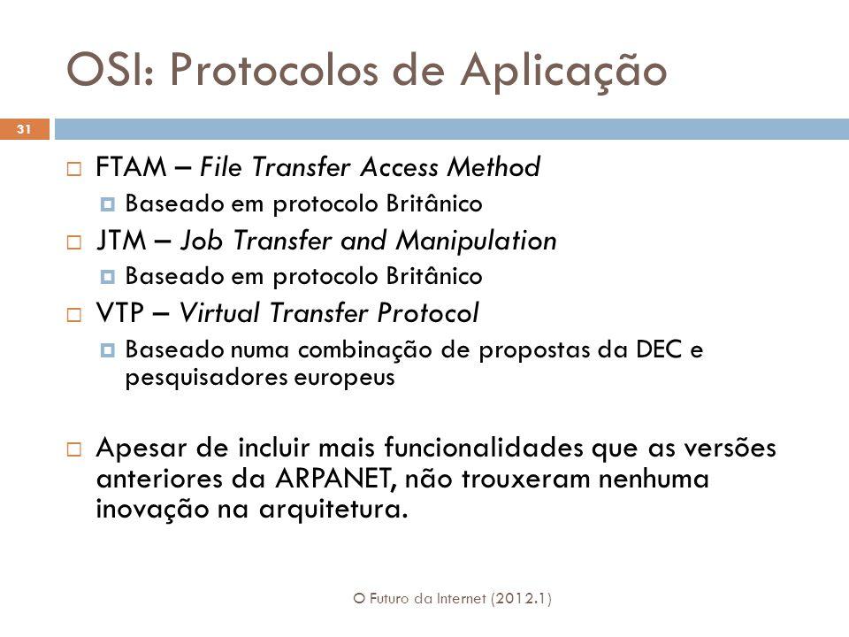 OSI: Protocolos de Aplicação O Futuro da Internet (2012.1) 31  FTAM – File Transfer Access Method  Baseado em protocolo Britânico  JTM – Job Transfer and Manipulation  Baseado em protocolo Britânico  VTP – Virtual Transfer Protocol  Baseado numa combinação de propostas da DEC e pesquisadores europeus  Apesar de incluir mais funcionalidades que as versões anteriores da ARPANET, não trouxeram nenhuma inovação na arquitetura.