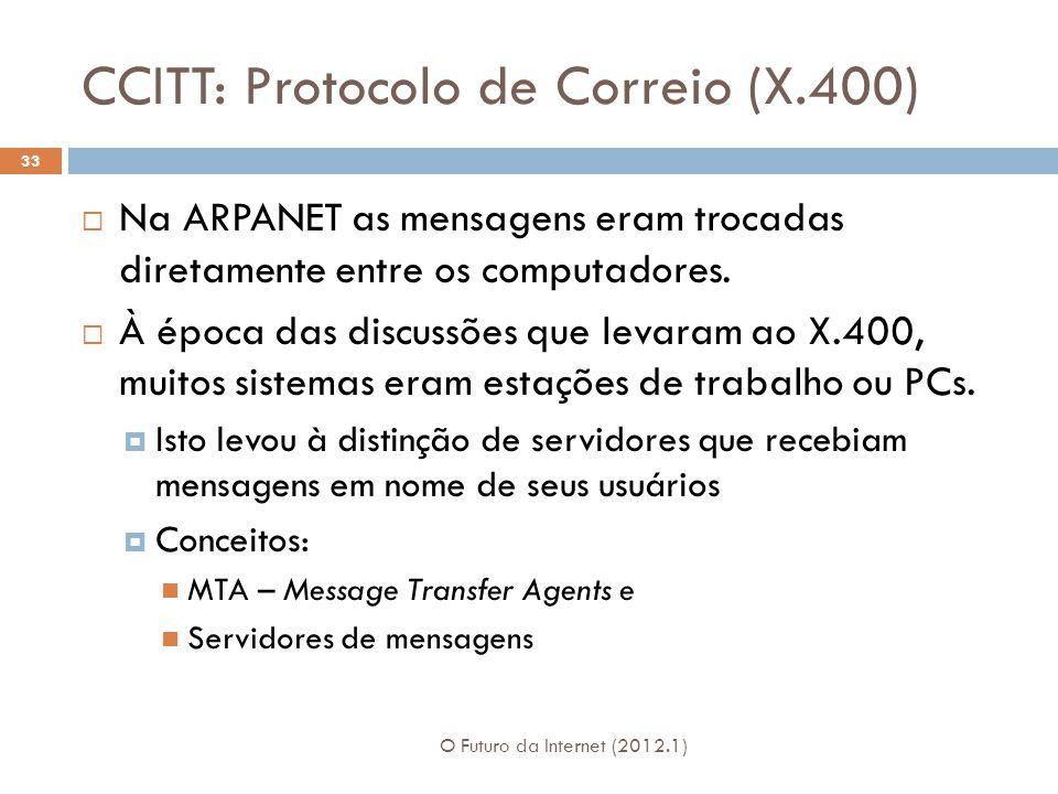 CCITT: Protocolo de Correio (X.400) O Futuro da Internet (2012.1) 33  Na ARPANET as mensagens eram trocadas diretamente entre os computadores.