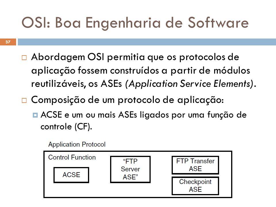 OSI: Boa Engenharia de Software O Futuro da Internet (2012.1) 37  Abordagem OSI permitia que os protocolos de aplicação fossem construídos a partir de módulos reutilizáveis, os ASEs (Application Service Elements).
