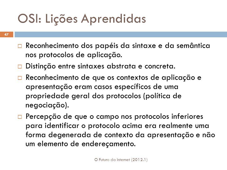 OSI: Lições Aprendidas O Futuro da Internet (2012.1) 47  Reconhecimento dos papéis da sintaxe e da semântica nos protocolos de aplicação.