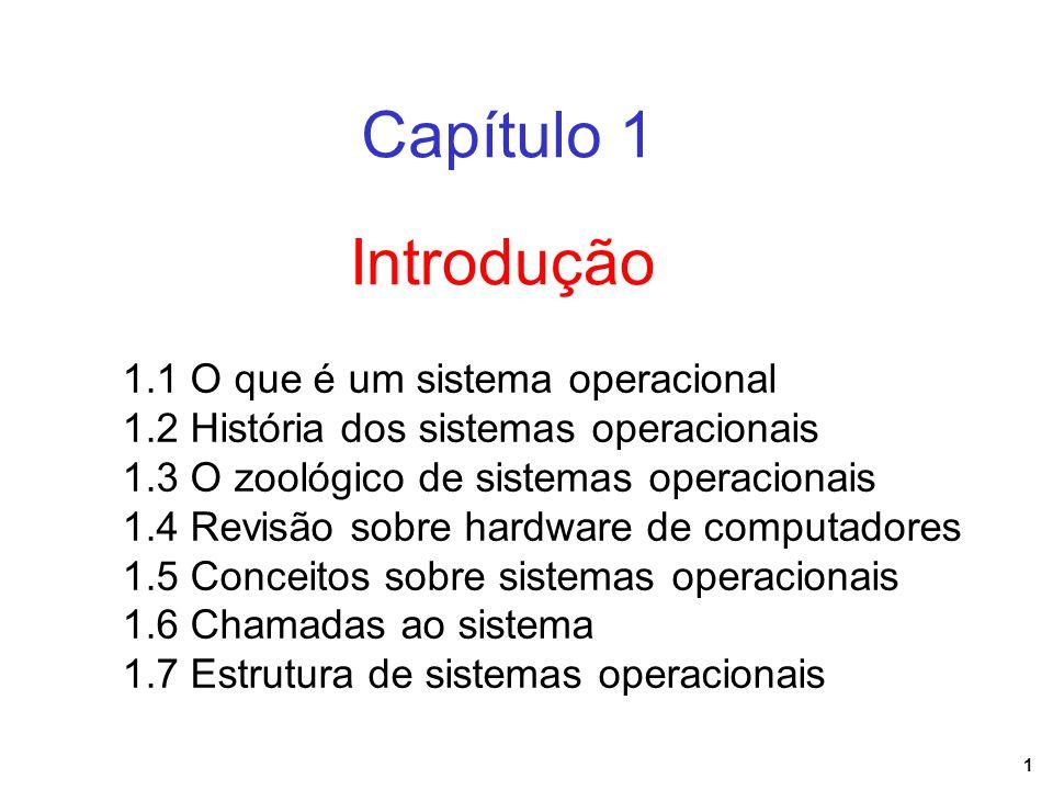 1 Introdução Capítulo 1 1.1 O que é um sistema operacional 1.2 História dos sistemas operacionais 1.3 O zoológico de sistemas operacionais 1.4 Revisão sobre hardware de computadores 1.5 Conceitos sobre sistemas operacionais 1.6 Chamadas ao sistema 1.7 Estrutura de sistemas operacionais