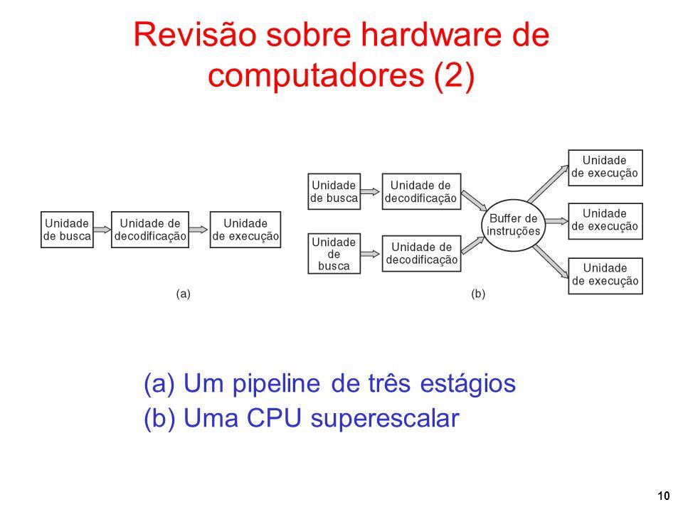 10 Revisão sobre hardware de computadores (2) (a) Um pipeline de três estágios (b) Uma CPU superescalar