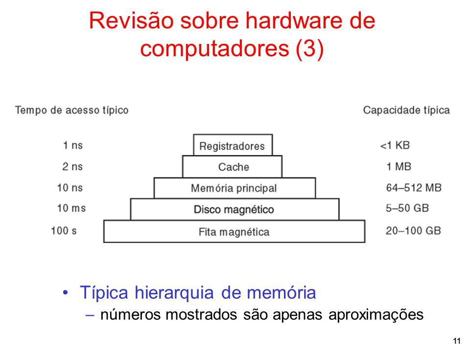 11 Revisão sobre hardware de computadores (3) Típica hierarquia de memória –números mostrados são apenas aproximações