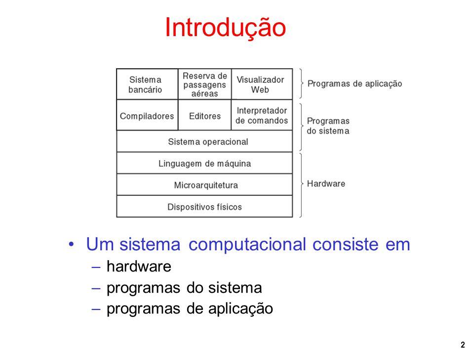 23 Chamadas ao Sistema (2) Os processos têm três segmentos: texto, dados e pilha
