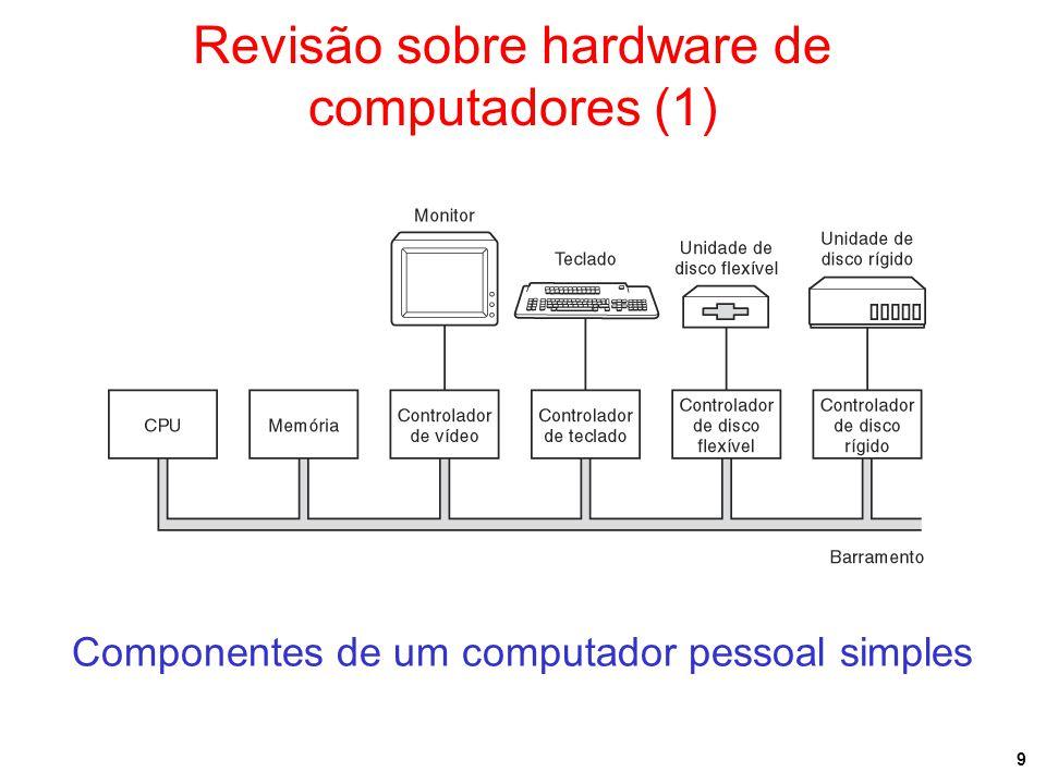9 Revisão sobre hardware de computadores (1) Componentes de um computador pessoal simples Bus