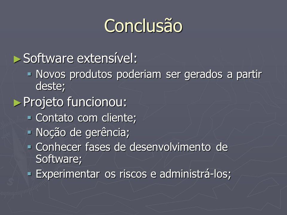 Conclusão ► Software extensível:  Novos produtos poderiam ser gerados a partir deste; ► Projeto funcionou:  Contato com cliente;  Noção de gerência;  Conhecer fases de desenvolvimento de Software;  Experimentar os riscos e administrá-los;