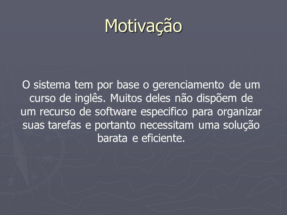 Motivação O sistema tem por base o gerenciamento de um curso de inglês.