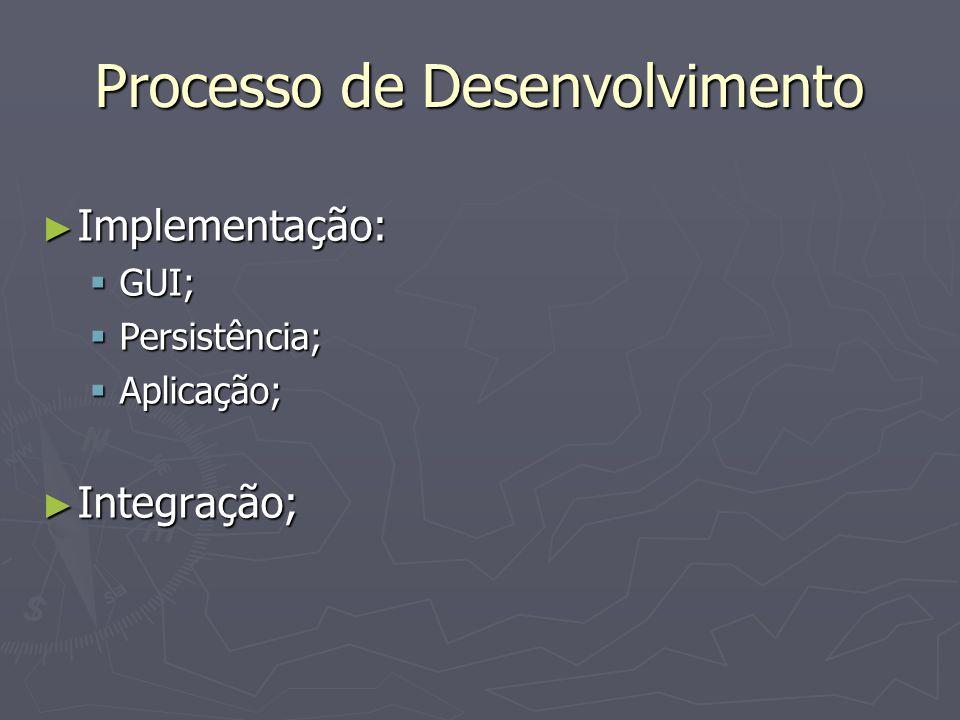 Processo de Desenvolvimento ► Testes:  Teste de unidade: ► Caixa Preta (funcional); ► Caixa Branca (estrutural);  Teste de integração;