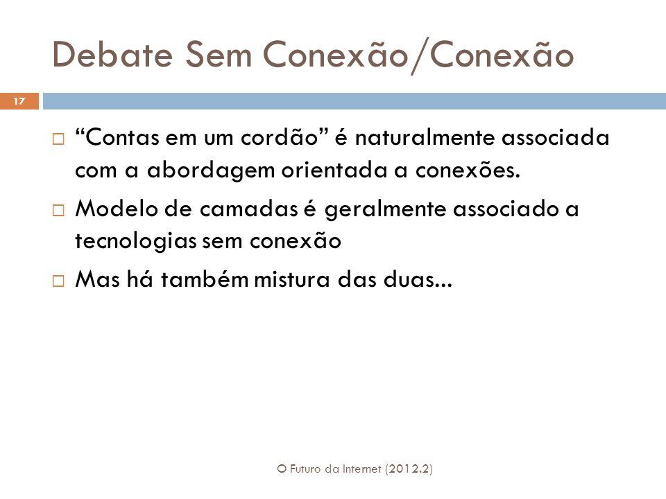 """Debate Sem Conexão/Conexão O Futuro da Internet (2012.2) 17  """"Contas em um cordão"""" é naturalmente associada com a abordagem orientada a conexões.  M"""