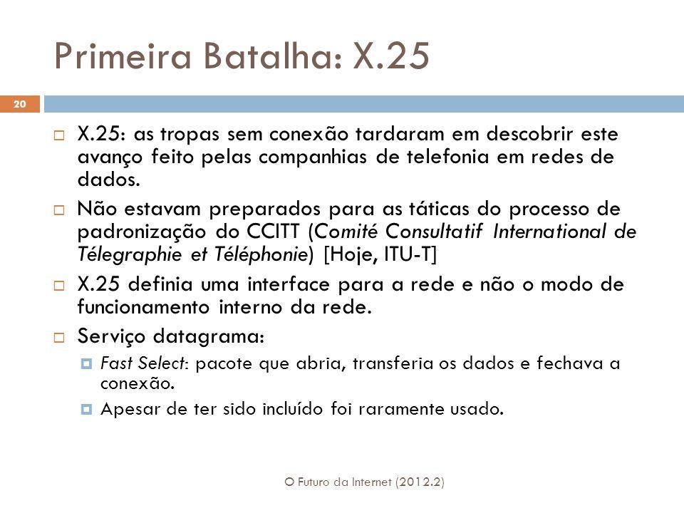 Primeira Batalha: X.25 O Futuro da Internet (2012.2) 20  X.25: as tropas sem conexão tardaram em descobrir este avanço feito pelas companhias de telefonia em redes de dados.