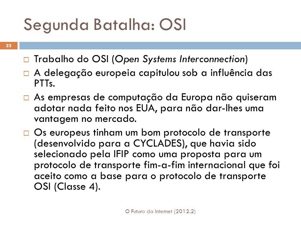 Segunda Batalha: OSI O Futuro da Internet (2012.2) 23  Trabalho do OSI (Open Systems Interconnection)  A delegação europeia capitulou sob a influência das PTTs.