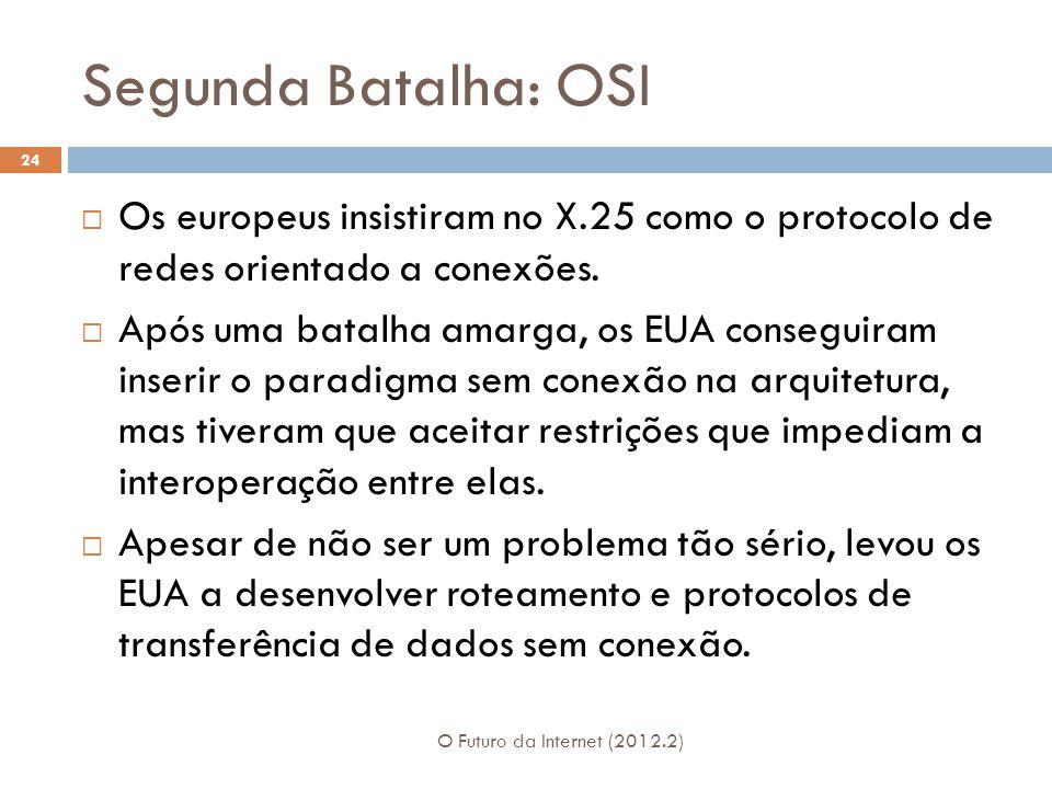 Segunda Batalha: OSI O Futuro da Internet (2012.2) 24  Os europeus insistiram no X.25 como o protocolo de redes orientado a conexões.  Após uma bata