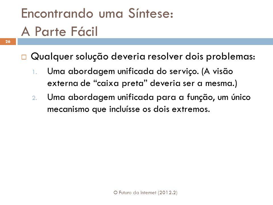 Encontrando uma Síntese: A Parte Fácil O Futuro da Internet (2012.2) 26  Qualquer solução deveria resolver dois problemas: 1. Uma abordagem unificada