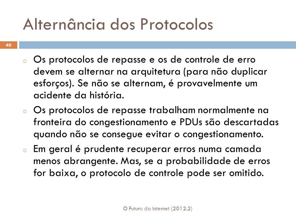 Alternância dos Protocolos O Futuro da Internet (2012.2) 40 o Os protocolos de repasse e os de controle de erro devem se alternar na arquitetura (para não duplicar esforços).