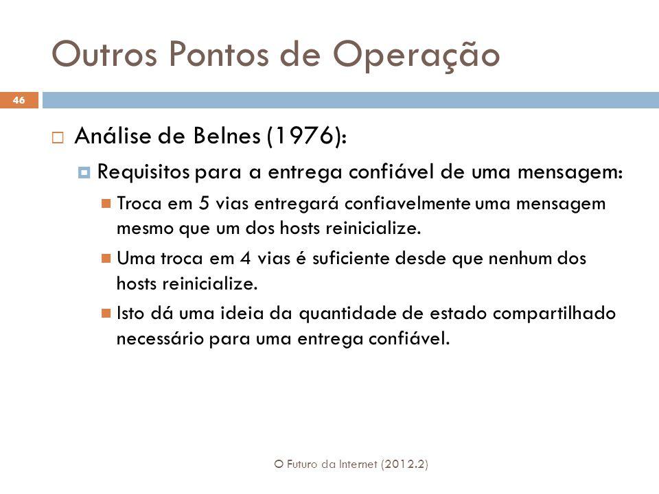 Outros Pontos de Operação O Futuro da Internet (2012.2) 46  Análise de Belnes (1976):  Requisitos para a entrega confiável de uma mensagem: Troca em 5 vias entregará confiavelmente uma mensagem mesmo que um dos hosts reinicialize.