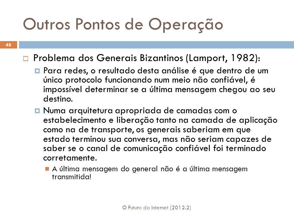Outros Pontos de Operação O Futuro da Internet (2012.2) 48  Problema dos Generais Bizantinos (Lamport, 1982):  Para redes, o resultado desta análise
