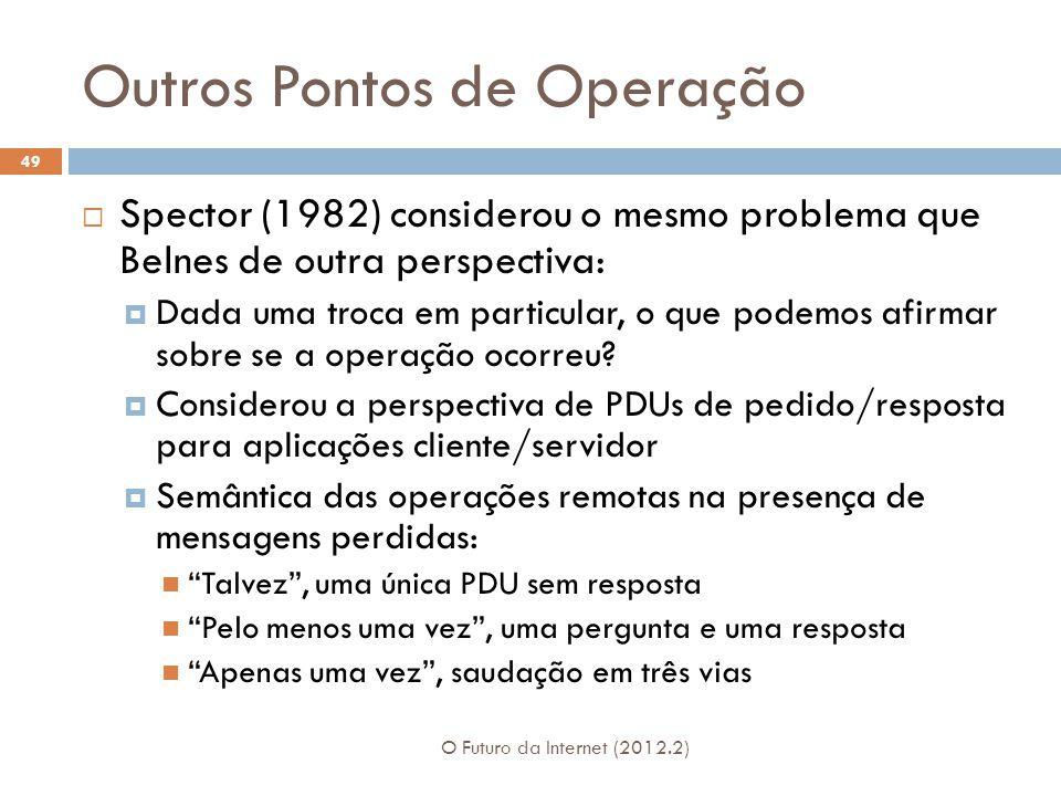 Outros Pontos de Operação O Futuro da Internet (2012.2) 49  Spector (1982) considerou o mesmo problema que Belnes de outra perspectiva:  Dada uma troca em particular, o que podemos afirmar sobre se a operação ocorreu.