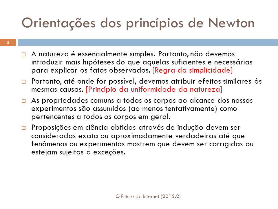Orientações dos princípios de Newton O Futuro da Internet (2012.2) 5  A natureza é essencialmente simples. Portanto, não devemos introduzir mais hipó