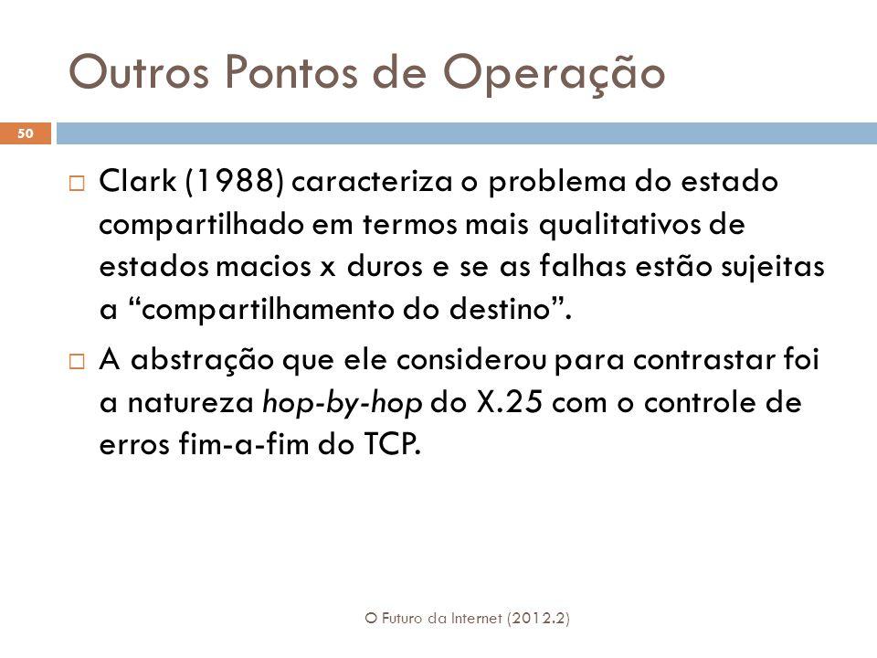 Outros Pontos de Operação O Futuro da Internet (2012.2) 50  Clark (1988) caracteriza o problema do estado compartilhado em termos mais qualitativos de estados macios x duros e se as falhas estão sujeitas a compartilhamento do destino .
