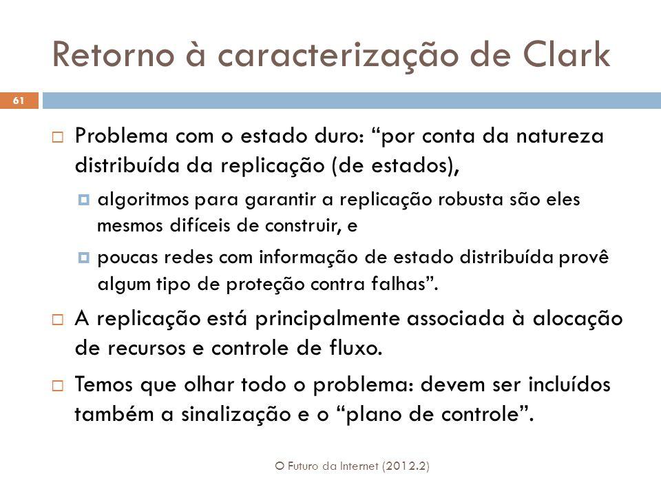 """Retorno à caracterização de Clark O Futuro da Internet (2012.2) 61  Problema com o estado duro: """"por conta da natureza distribuída da replicação (de"""