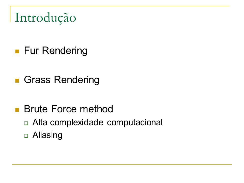 Introdução Fur Rendering Grass Rendering Brute Force method  Alta complexidade computacional  Aliasing
