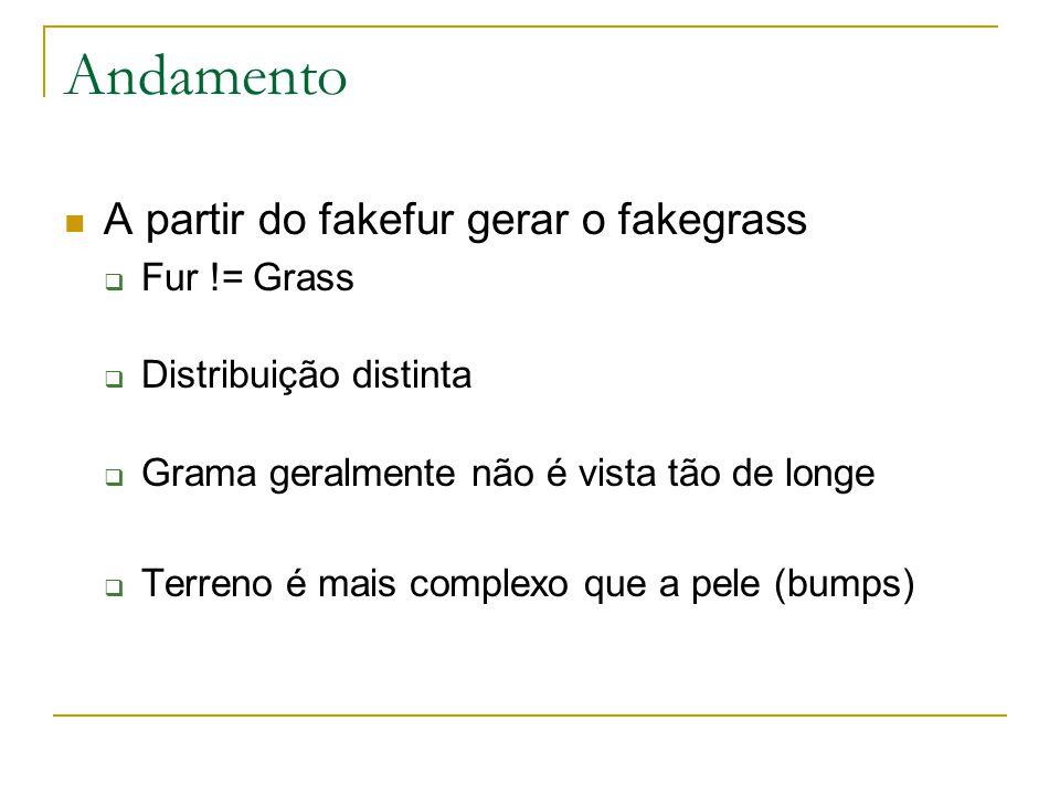 Andamento A partir do fakefur gerar o fakegrass  Fur != Grass  Distribuição distinta  Grama geralmente não é vista tão de longe  Terreno é mais complexo que a pele (bumps)