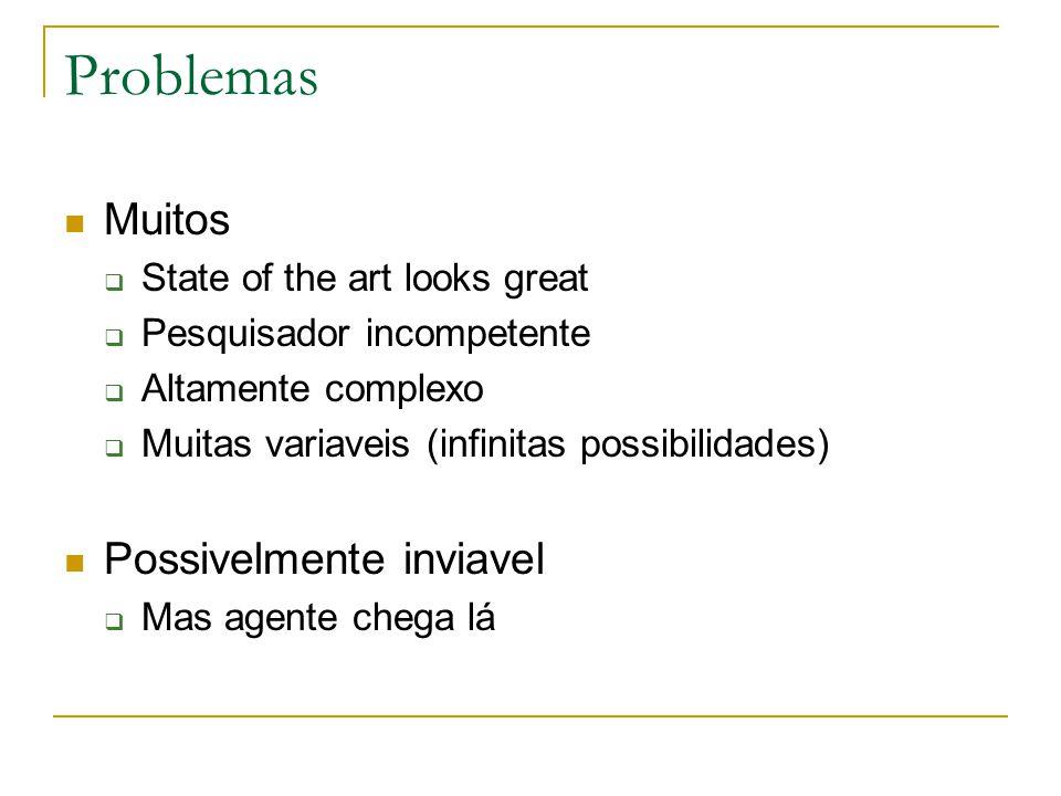 Problemas Muitos  State of the art looks great  Pesquisador incompetente  Altamente complexo  Muitas variaveis (infinitas possibilidades) Possivelmente inviavel  Mas agente chega lá