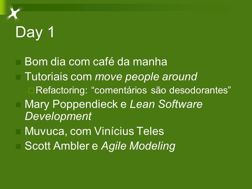 Day 1 Bom dia com café da manha Tutoriais com move people around  Refactoring: comentários são desodorantes Mary Poppendieck e Lean Software Development Muvuca, com Vinícius Teles Scott Ambler e Agile Modeling