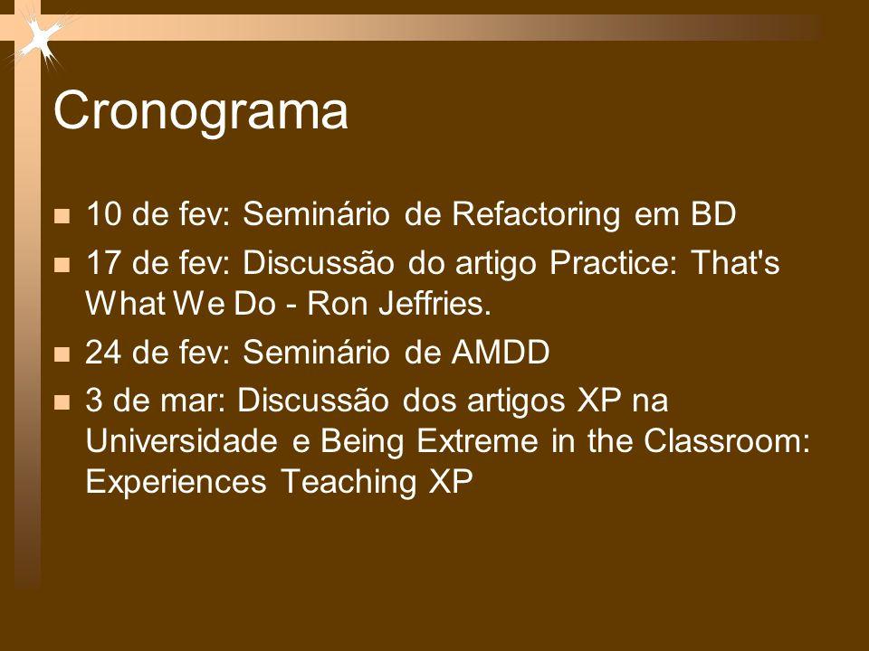Cronograma 10 de fev: Seminário de Refactoring em BD 17 de fev: Discussão do artigo Practice: That's What We Do - Ron Jeffries. 24 de fev: Seminário d
