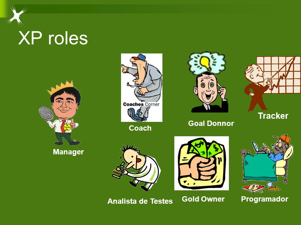 XP roles Tracker Programador Goal Donnor Gold Owner Analista de Testes Coach Manager