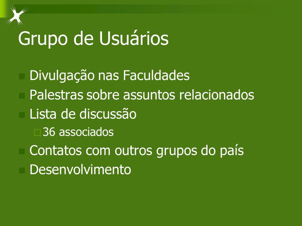Grupo de Usuários Divulgação nas Faculdades Palestras sobre assuntos relacionados Lista de discussão  36 associados Contatos com outros grupos do paí