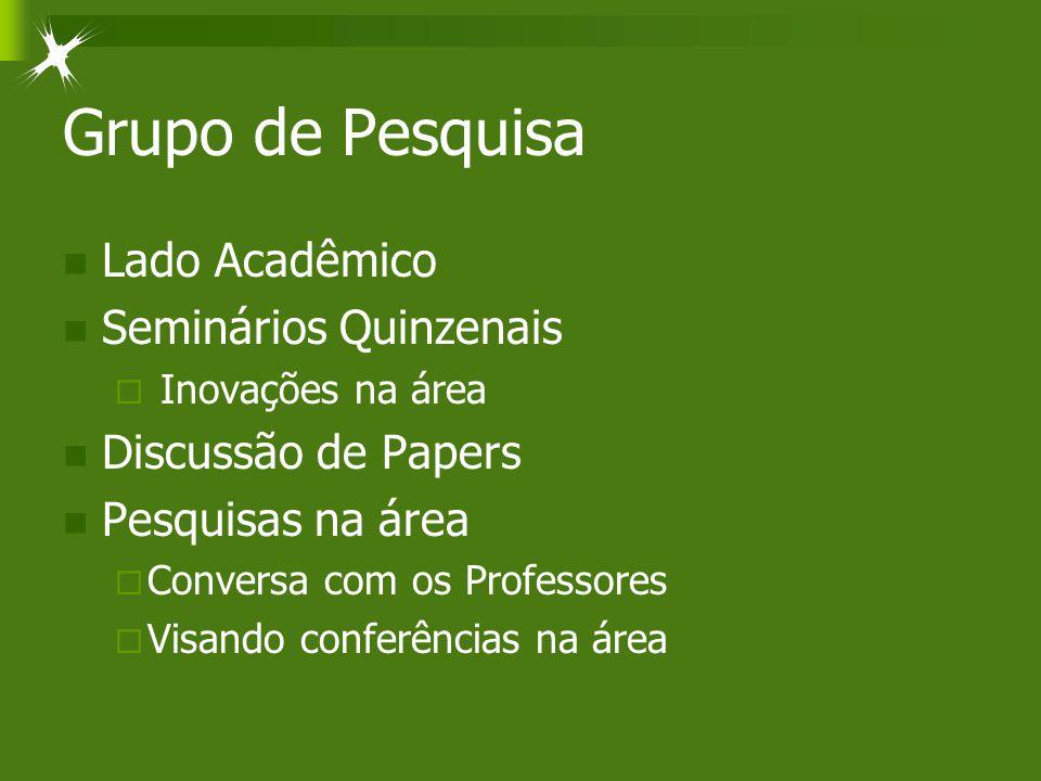 Grupo de Pesquisa Lado Acadêmico Seminários Quinzenais  Inovações na área Discussão de Papers Pesquisas na área  Conversa com os Professores  Visando conferências na área