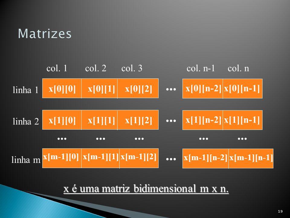 19... x[0][n-2] x[0][n-1] x[0][0] x[0][1] x[0][2] x é uma matriz bidimensional m x n. linha 1 col. 1col. 2col. 3col. n-1col. n... x[1][n-2] x[1][n-1]