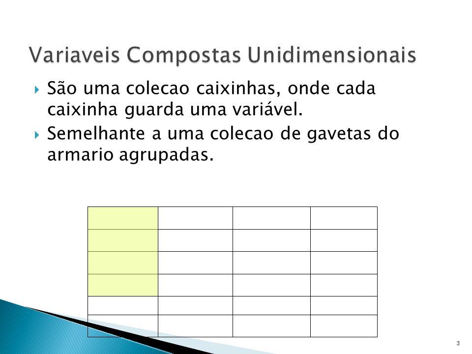  Vetores (Arrays) ◦ Tipo de dado usado para representar uma coleção de variáveis de um mesmo tipo.