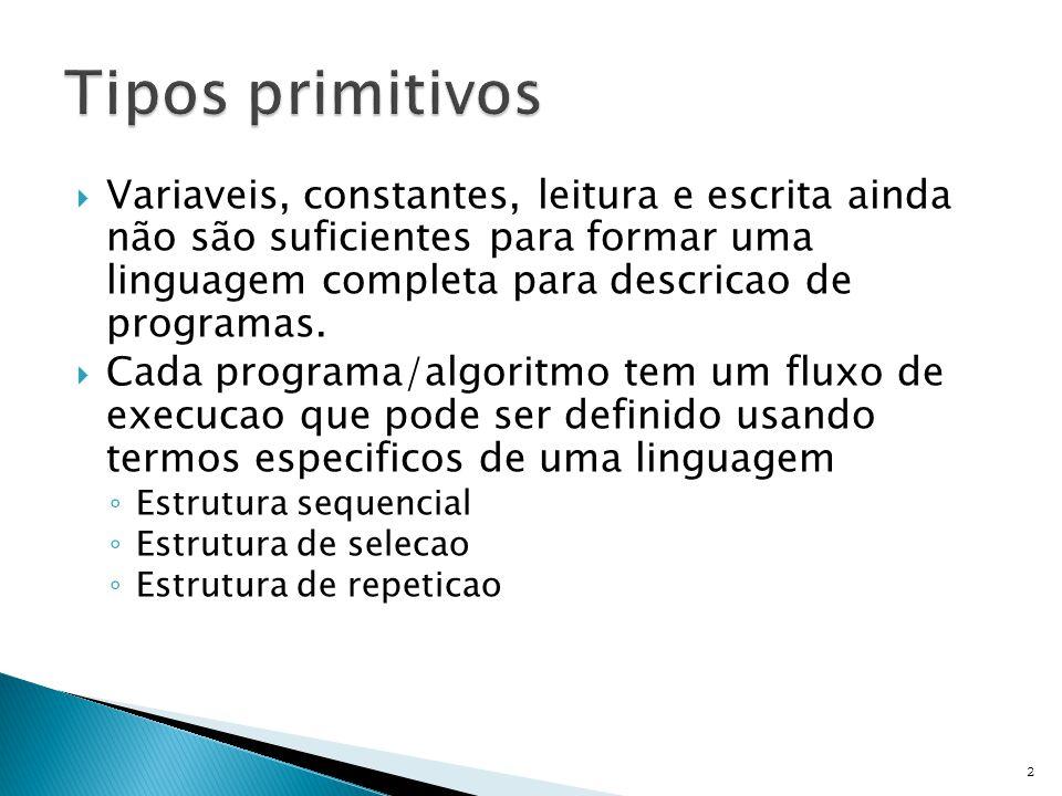  Variaveis, constantes, leitura e escrita ainda não são suficientes para formar uma linguagem completa para descricao de programas.
