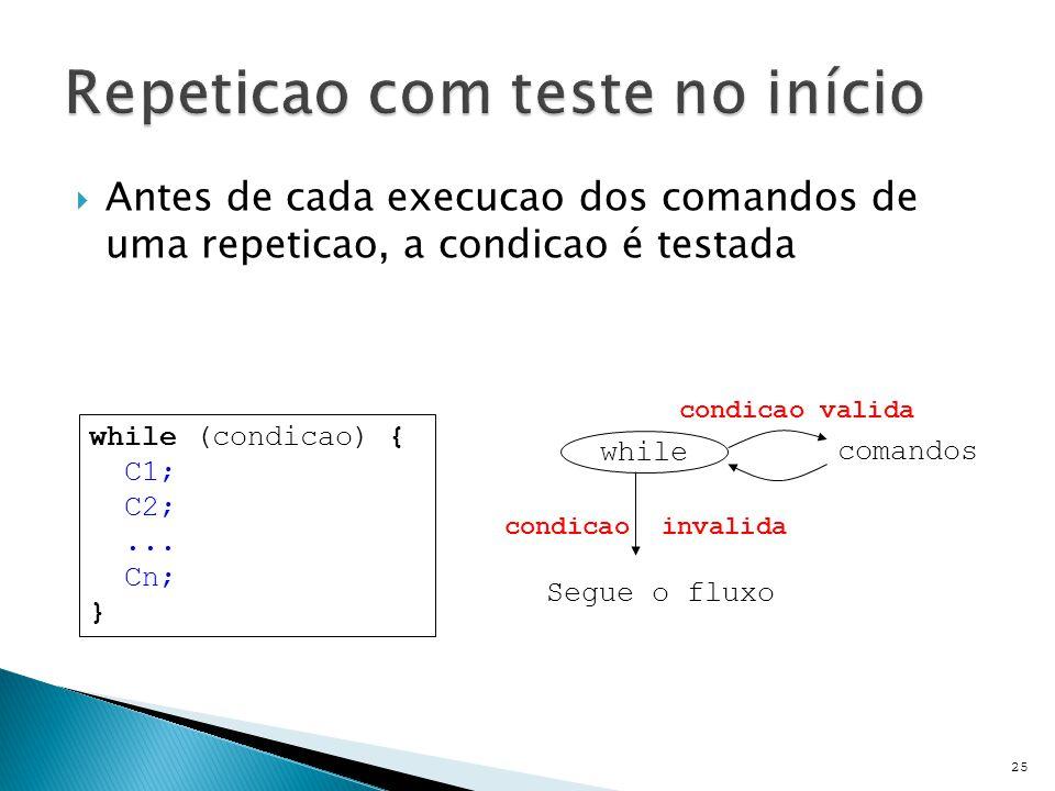  Antes de cada execucao dos comandos de uma repeticao, a condicao é testada 25 while (condicao) { C1; C2;...