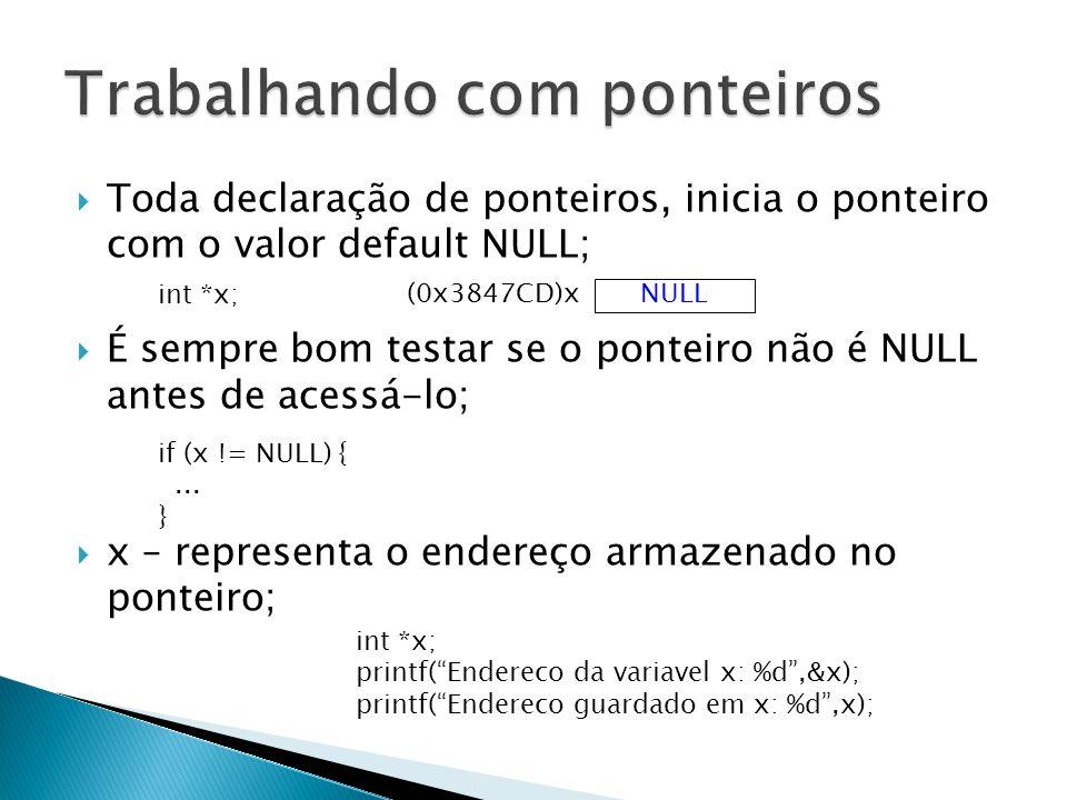  Toda declaração de ponteiros, inicia o ponteiro com o valor default NULL;  É sempre bom testar se o ponteiro não é NULL antes de acessá-lo;  x – representa o endereço armazenado no ponteiro; NULL (0x3847CD)x int *x; printf( Endereco da variavel x: %d ,&x); printf( Endereco guardado em x: %d ,x); if (x != NULL) {...