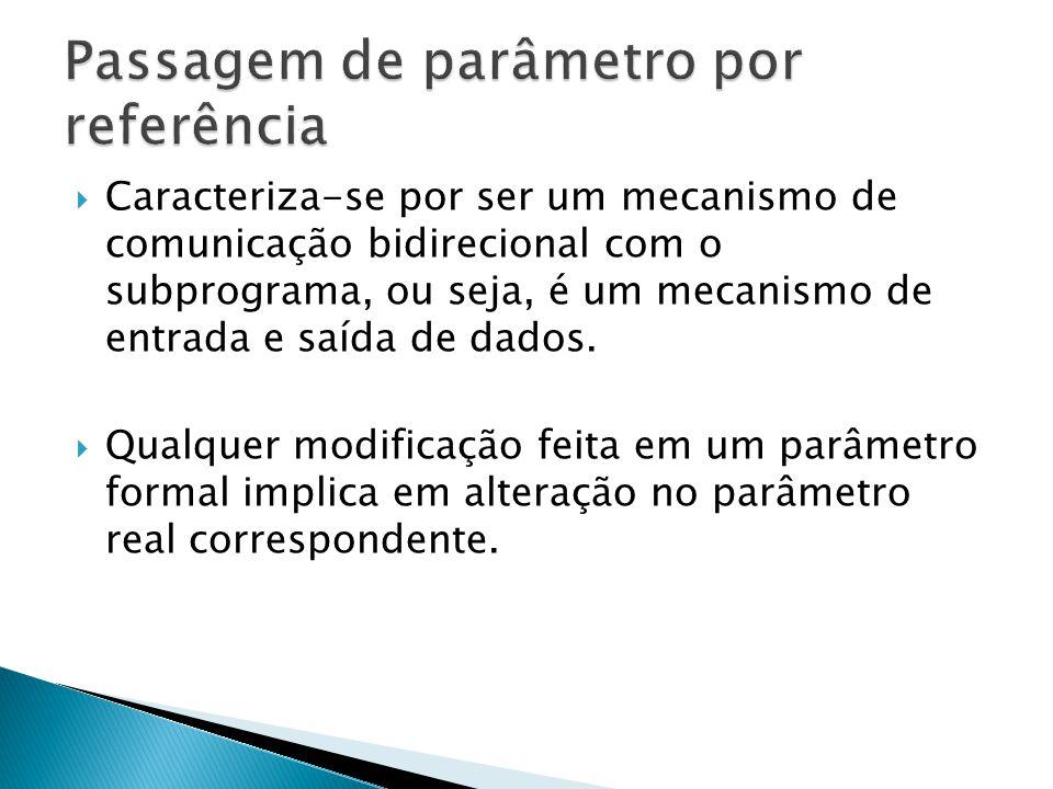  Caracteriza-se por ser um mecanismo de comunicação bidirecional com o subprograma, ou seja, é um mecanismo de entrada e saída de dados.