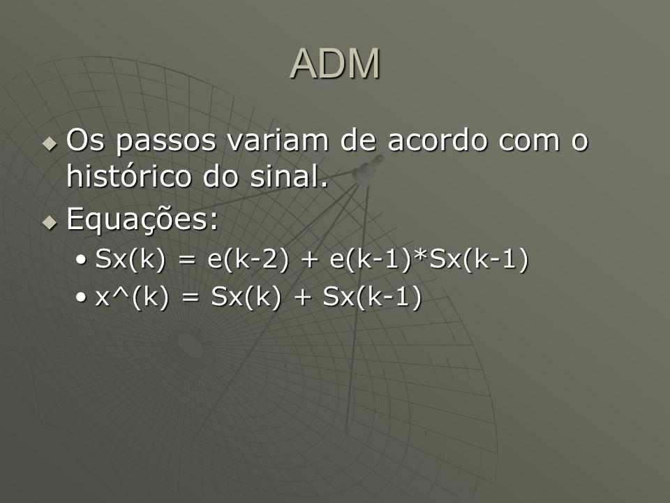 ADM  Os passos variam de acordo com o histórico do sinal.