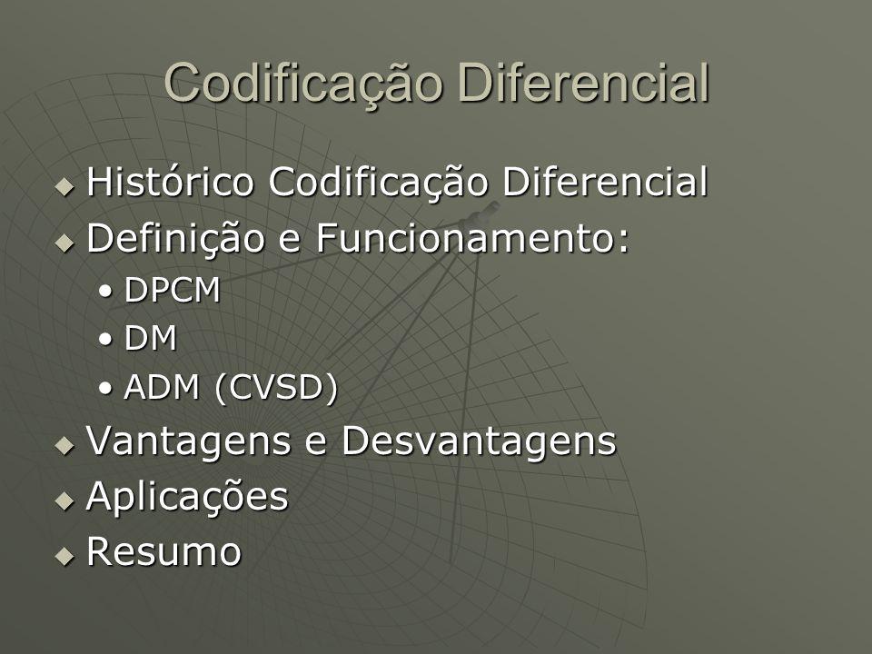 Codificação Diferencial  Histórico Codificação Diferencial  Definição e Funcionamento: DPCMDPCM DMDM ADM (CVSD)ADM (CVSD)  Vantagens e Desvantagens  Aplicações  Resumo