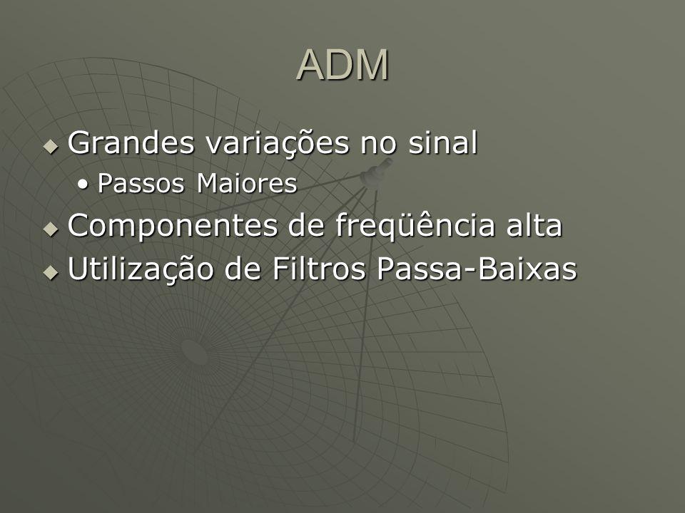 ADM  Grandes variações no sinal Passos MaioresPassos Maiores  Componentes de freqüência alta  Utilização de Filtros Passa-Baixas