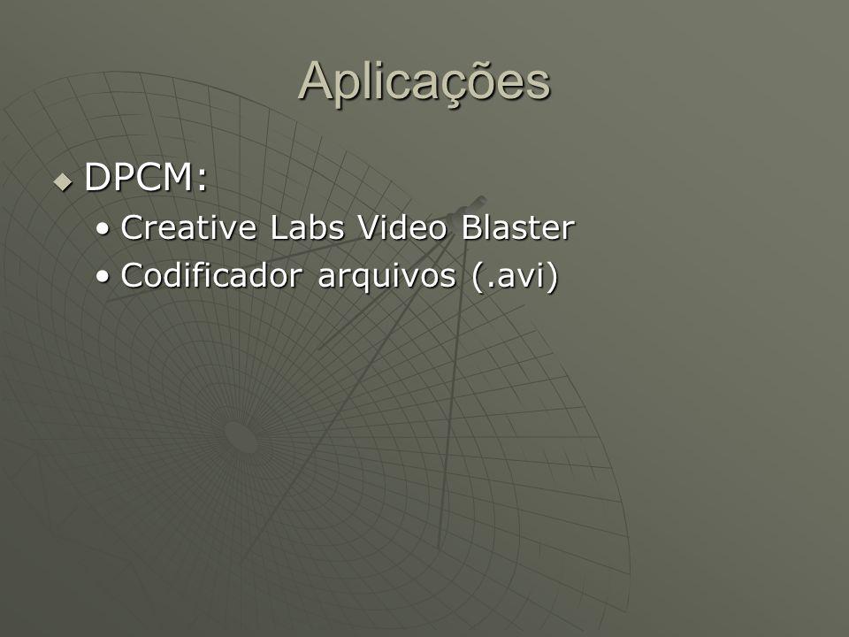 Aplicações  DPCM: Creative Labs Video BlasterCreative Labs Video Blaster Codificador arquivos (.avi)Codificador arquivos (.avi)