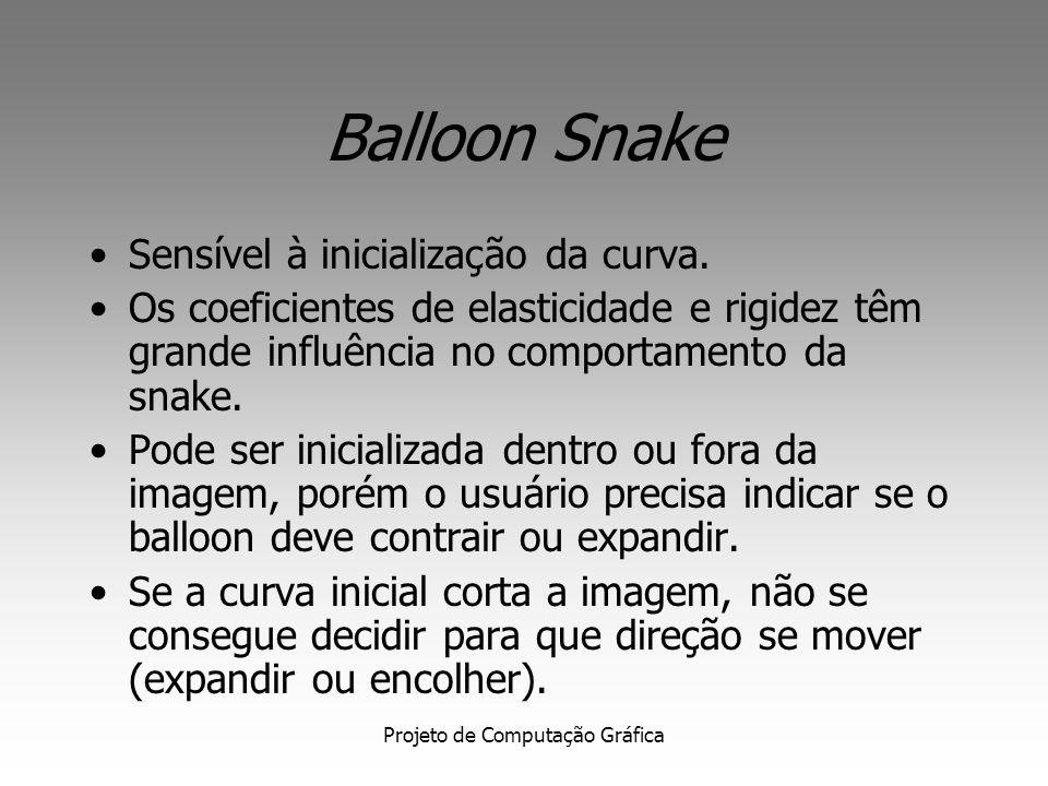 Projeto de Computação Gráfica Balloon Snake Idéia principal: Acrescentar uma componente de força normal à curva ao vetor de forças externas da snake p